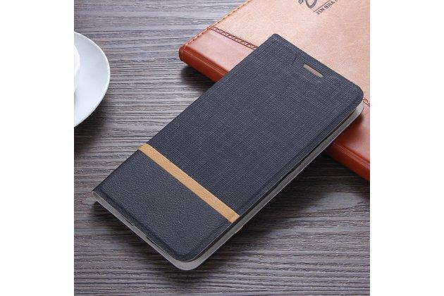 Фирменный чехол-книжка с визитницей и мультиподставкой на жёсткой металлической основе для Alcatel Idol 5 6058D черный из настоящей джинсы