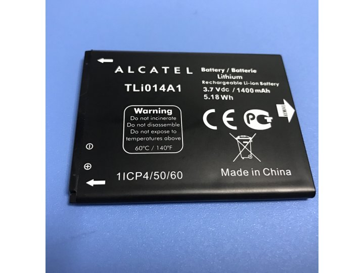 Фирменная аккумуляторная батарея 1400mAh TLi014A1 на телефон Alcatel One Touch S'Pop 4030D + инструменты для в..