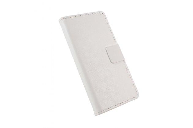 Фирменный чехол-книжка из качественной импортной кожи с подставкой застёжкой и визитницей для Alcatel Pixi 4 (5) 5010D белый