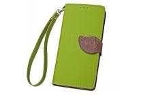Фирменный уникальный необычный чехол-книжка для Alcatel Pixi 4 (5) 5010D зеленый с декорированной застежкой в виде листочка