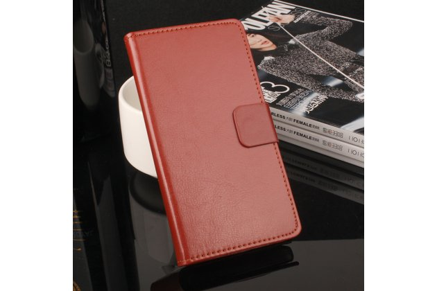 Фирменный чехол-книжка из качественной импортной кожи с подставкой застёжкой и визитницей для Alcatel Pixi 4 (5) 5010D коричневый