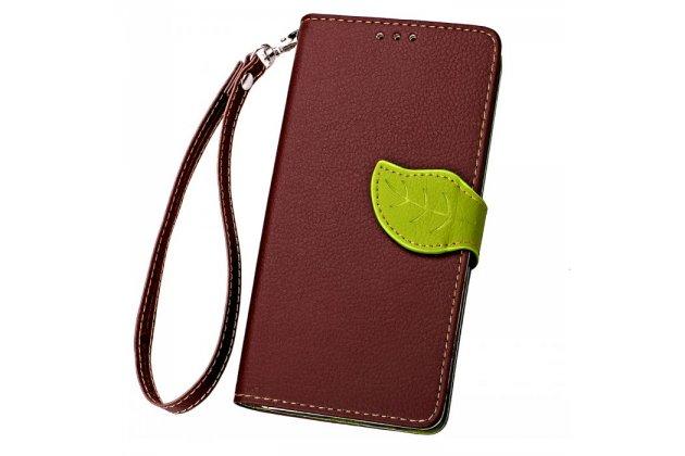 Фирменный уникальный необычный чехол-книжка для Alcatel Pixi 4 (5) 5010D коричневый с декорированной застежкой в виде листочка