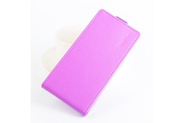 Фирменный оригинальный вертикальный откидной чехол-флип для Alcatel Pixi 4 (5) 5010D фиолетовый из натуральной кожи Prestige