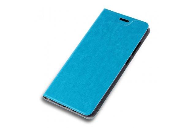 Фирменный чехол-книжка водоотталкивающий из качественной импортной кожи с мульти-подставкой на жёсткой металлической основе для Alcatel PIXI 4 Plus Power  голубой