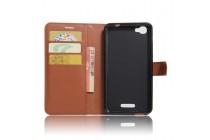 Фирменный чехол-книжка из качественной импортной кожи с подставкой застёжкой и визитницей для Alcatel PIXI 4 Plus Power красный