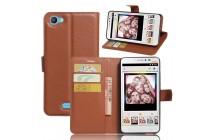 Фирменный чехол-книжка из качественной импортной кожи с подставкой застёжкой и визитницей для Alcatel PIXI 4 Plus Power коричневый