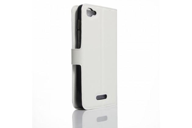 Фирменный чехол-книжка из качественной импортной кожи с подставкой застёжкой и визитницей для Alcatel PIXI 4 Plus Power белый