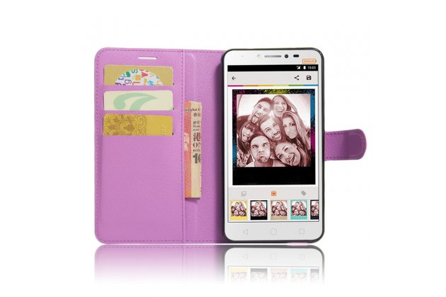 Фирменный чехол-книжка из качественной импортной кожи с подставкой застёжкой и визитницей для Alcatel PIXI 4 Plus Power фиолетовый