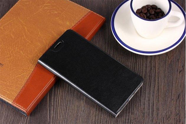 Фирменный чехол-книжка водоотталкивающий из качественной импортной кожи с мульти-подставкой на жёсткой металлической основе для Alcatel PIXI 4 Plus Power черный