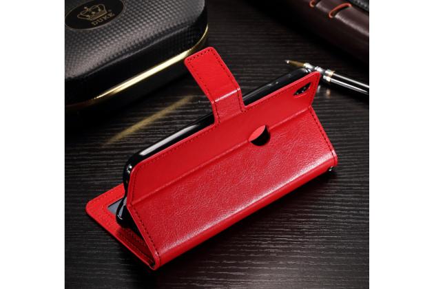 Фирменный чехол-книжка из качественной импортной кожи с мульти-подставкой застёжкой и визитницей для for Alcatel SHINE LITE 5080X 5.0 красный