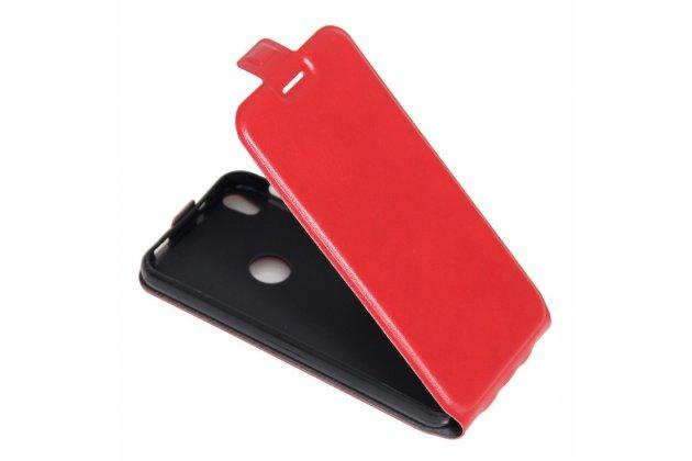 Фирменный оригинальный вертикальный откидной чехол-флип для красный из натуральной кожи Prestige
