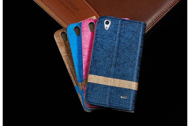 Фирменный чехол-книжка для Alcatel U5 5044Y 5.0 синий с золотой полосой водоотталкивающий