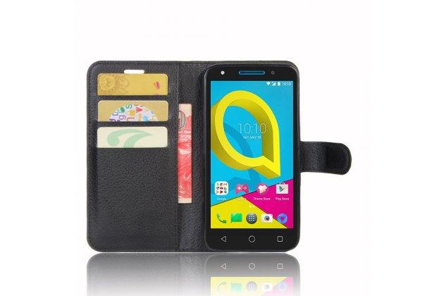 Фирменный чехол-книжка из качественной импортной кожи с подставкой застёжкой и визитницей для Alcatel U5 5044Y 5.0 черный