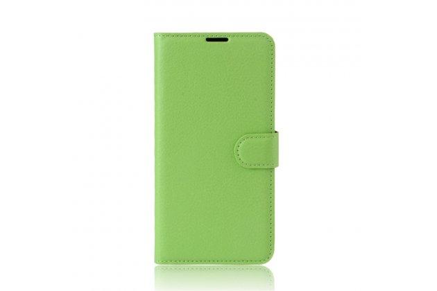 Фирменный чехол-книжка из качественной импортной кожи с подставкой застёжкой и визитницей для Alcatel U5 5044Y 5.0 зеленый