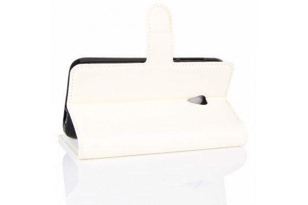 Фирменный чехол-книжка из качественной импортной кожи с подставкой застёжкой и визитницей для Алкатель У5 5044Y 5.0 белый
