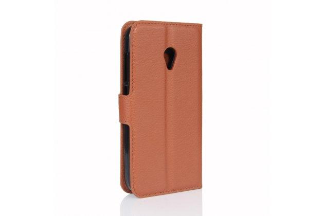 Фирменный чехол-книжка из качественной импортной кожи с подставкой застёжкой и визитницей для Алкатель У5 5044Y 5.0 коричневый