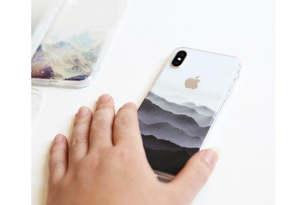 Фирменная роскошная задняя панель-чехол-накладка  из мягкого силикона с безумно красивым расписным 3D рисунком на Apple iPhone X (10) тематика Горы