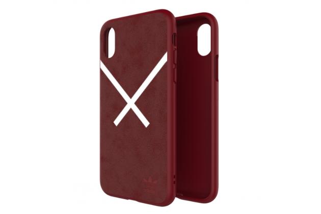 Фирменная  оригинальная подлинная  задняя панель-крышка-накладка  с логотипом из замши для Apple iPhone X (10) красная