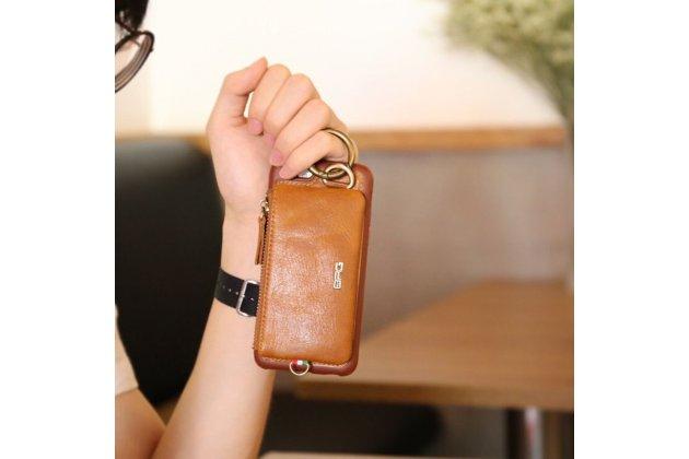 Фирменная премиальная элитная крышка-накладка-клатч из тончайшего прочного пластика и качественной импортной кожи  для Apple iPhone X (10)  с визитницей и отделением для различных мелочей коричневая