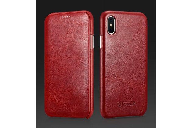 """Фирменный премиальный элитный чехол-книжка из качественной импортной кожи с мульти-подставкой для Apple iPhone X (10) """"Ретро"""" красный"""