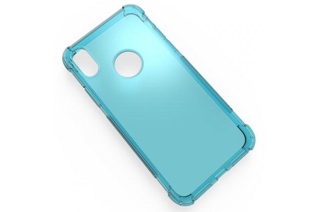 Фирменная ультра-тонкая полимерная из мягкого качественного силикона задняя панель-чехол-накладка для Apple iPhone X (10) голубая