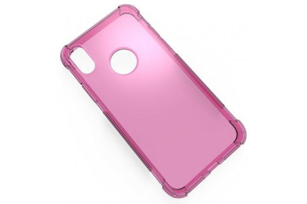 Фирменная ультра-тонкая полимерная из мягкого качественного силикона задняя панель-чехол-накладка для Apple iPhone X (10) розовая
