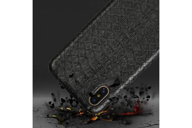Фирменная элегантная экзотическая задняя панель-крышка с фактурной отделкой натуральной кожи змеи черного цвета для Apple iPhone X (10). Только в нашем магазине. Количество ограничено.