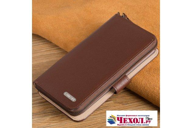 Фирменный чехол-портмоне-клатч-кошелек на силиконовой основе из качественной импортной кожи для Apple iPhone X (10) коричневый