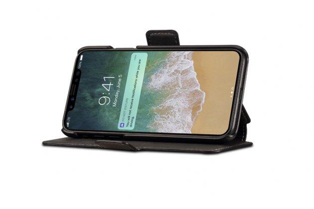 Фирменный чехол-книжка из качественной импортной кожи с подставкой застёжкой и визитницей для Apple iPhone X (10) черный