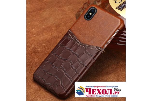 Фирменная роскошная элитная премиальная задняя панель-крышка для Apple iPhone X (10) из качественной кожи буйвола с вставкой под кожу рептилии в коричневом цвете
