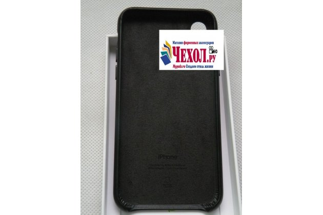 Фирменная оригинальная подлинная крышка-накладка с логотипом из тончайшего и прочного пластика обтянутая импортной кожей для Apple iPhone X (10) черная