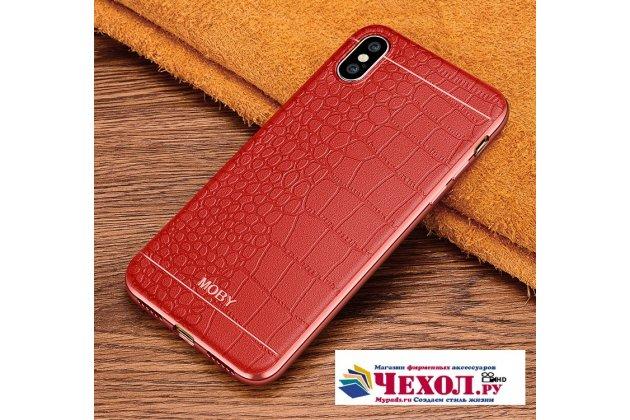 Фирменная премиальная элитная крышка-накладка на Apple iPhone X (10) красная из качественного силикона с дизайном под кожу