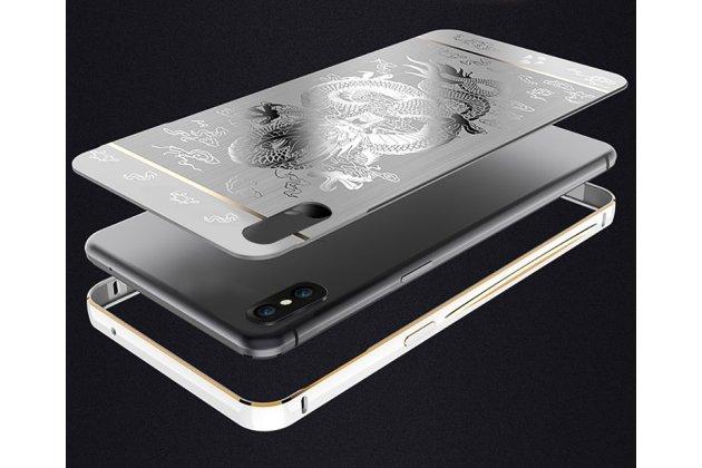 """Фирменная металлическая задняя панель-крышка-накладка из тончайшего облегченного авиационного алюминия для Apple iPhone X (10) """"тематика Китайский дракон"""" серебристая"""