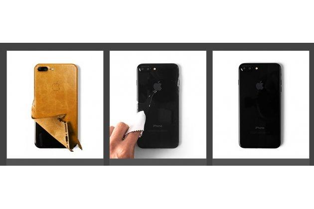 Оригинальная эксклюзивная задняя кожаная наклейка (из натуральной кожи) для Apple iPhone X (10) черная