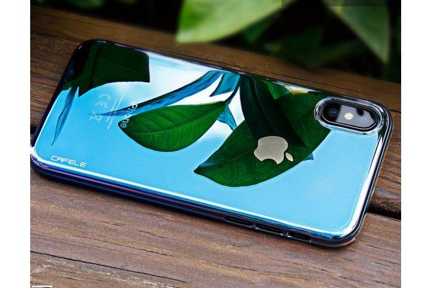Фирменная ультра-тонкая пластиковая задняя панель-чехол-накладка для Apple iPhone X (10) прозрачная ярко-синяя