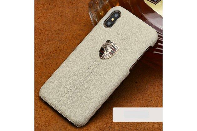 Фирменная роскошная задняя панель-крышка обтянутая импортной кожей для Apple iPhone X (10) белая