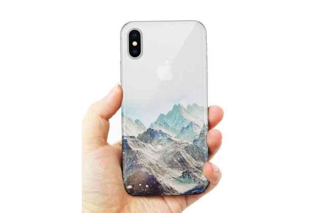 Фирменная роскошная задняя панель-чехол-накладка  из мягкого силикона с безумно красивым расписным 3D рисунком на Apple iPhone X (10) тематика Снежные горы