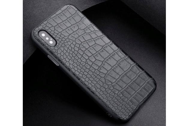 Фирменная премиальная элитная крышка-накладка на Apple iPhone X (10) черная из качественного силикона с дизайном под кожу