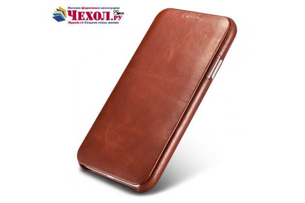 """Фирменный премиальный элитный чехол-книжка из качественной импортной кожи с мульти-подставкой для Apple iPhone X (10)  """"Ретро"""" коричневый"""