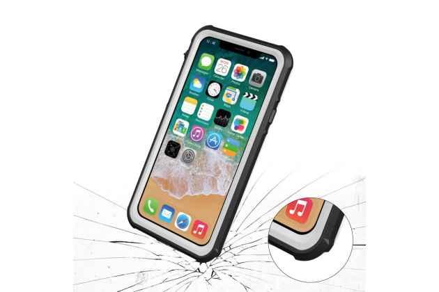 Неубиваемый водостойкий силиконовый противоударный водонепроницаемый грязестойкий влагозащитный ударопрочный фирменный чехол-бампер для Apple iPhone X (10) серый