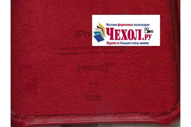 Фирменная оригинальная подлинная крышка-накладка с логотипом из тончайшего и прочного пластика обтянутая импортной кожей для Apple iPhone X (10)  красная