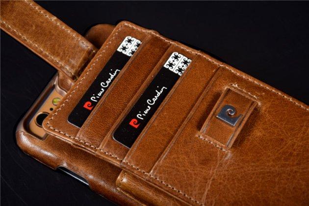 Фирменная роскошная элитная премиальная задняя панель-крышка для Apple iPhone X (10) из качественной кожи буйвола с визитницей и отделением для различных мелочей коричневый