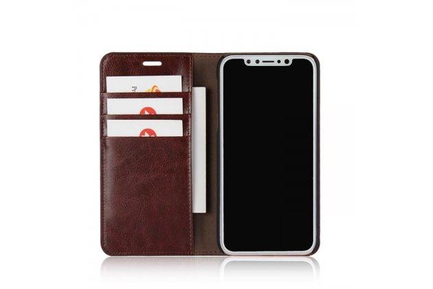 Фирменный премиальный элитный чехол-книжка из качественной импортной кожи с мульти-подставкой и визитницей для Apple iPhone X (10)  коричневый