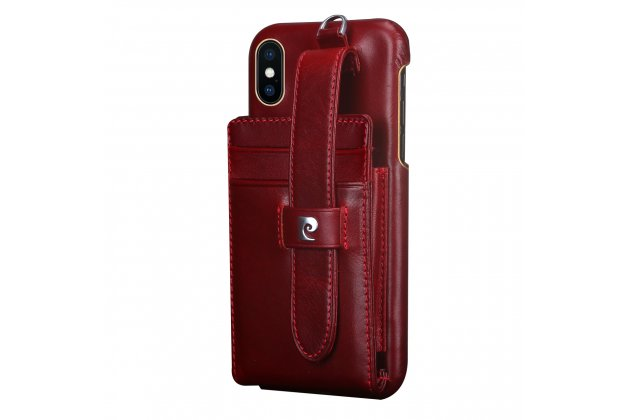Фирменная роскошная элитная премиальная задняя панель-крышка для Apple iPhone X (10) из качественной кожи буйвола с визитницей и отделением для различных мелочей красный