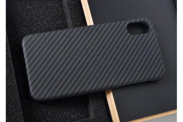 """Карбоновый чехол-панель-крышка из тончайшего углеводородного волокна для Apple iPhone X (10) с матовой отделкой """"кевлар"""" черная матовая"""