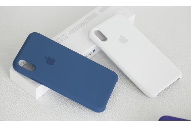 Фирменная ультра-тонкая задняя панель-чехол-накладка с логотипом для Apple iPhone X (10) полимерная из мягкого качественного силикона в белом цвете