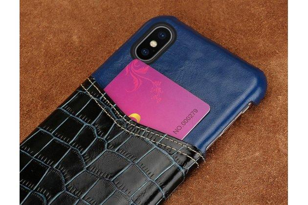 Фирменная роскошная элитная премиальная задняя панель-крышка для Apple iPhone X (10) из качественной кожи буйвола с вставкой под кожу рептилии в синем цвете