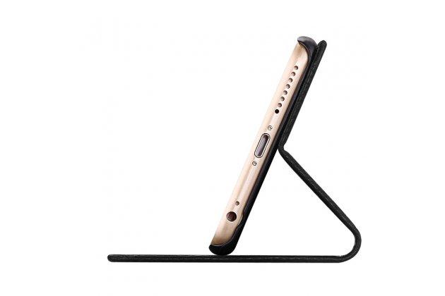 Фирменный чехол-книжка из качественной импортной кожи с подставкой застёжкой и визитницей для Apple iPhone X (10) коричневый
