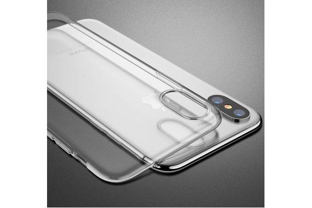 Фирменная задняя панель-чехол-накладка с защитными заглушками с защитой боковых кнопок для Apple iPhone X (10) прозрачная