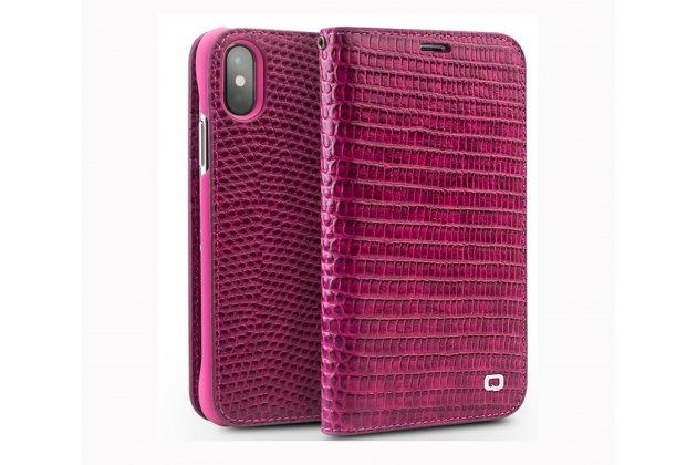 Фирменный роскошный эксклюзивный чехол с фактурной прошивкой рельефа кожи крокодила и визитницей розовый для Apple iPhone X (10). Только в нашем магазине. Количество ограничено